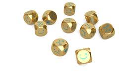 在金子的Emoji象切成小方块 3d例证 向量例证