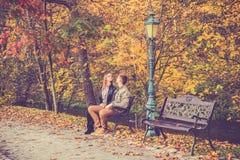 在金子秋天的夫妇 库存照片