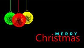 在金子色的象的圣诞快乐和圣诞节球招呼的文本设计在抽象黑背景 皇族释放例证