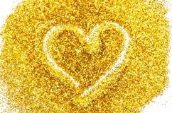 在金子闪烁概述的心脏形状 库存图片