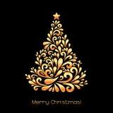 在金子颜色的抽象圣诞树 免版税库存照片