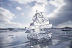 在金字塔修造的冰川 贝加尔湖湖 冬天 免版税库存照片