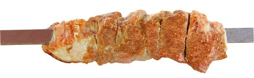在金属串串起的油煎的肉片 烹调在gr 免版税库存图片