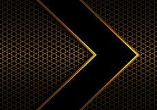 在金属六角形滤网样式设计现代未来派背景传染媒介的抽象黑箭头金线方向 皇族释放例证
