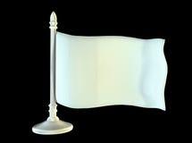 在金属发光的旗杆的白色空白的旗子 3d 免版税图库摄影
