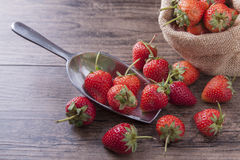在金属杓子的美丽的草莓在木桌上 免版税库存图片