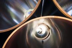 在金属气管里面,管道零件 免版税库存图片