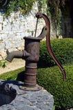 在金属的老水泵 免版税库存图片
