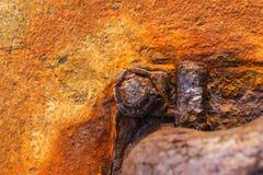 在金属的铁锈 造成对材料的损伤的情况 免版税图库摄影