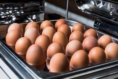 在金属盘子的鸡蛋 免版税库存图片