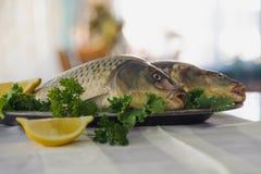 在金属盘的在白色桌上的生鱼与绿色和柠檬 户内 免版税图库摄影