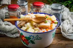 在金属碗的冻菜 库存图片
