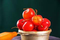 在金属碗的成熟樱桃。 免版税库存照片