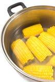 在金属罐的煮沸的玉米 免版税库存照片