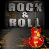 在金属背景的电吉他 免版税库存图片