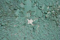 在金属背景的老破裂的油漆样式 在绿松石树荫下 库存图片