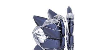 在金属胴体肉的蓝色水晶  免版税库存图片