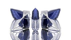 在金属胴体肉的蓝色水晶  免版税库存照片