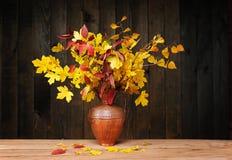 在金属花瓶的叶子 库存图片