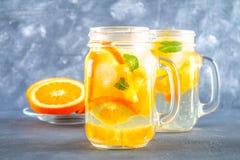 在金属螺盖玻璃瓶的橙色戒毒所水在灰色具体背景 健康食物,饮料 库存照片