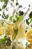 在金属螺盖玻璃瓶的自创柠檬水 免版税库存照片