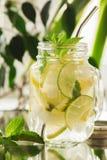 在金属螺盖玻璃瓶的自创柠檬水 图库摄影