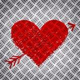 在金属金刚石板材的红色明亮的心脏 免版税图库摄影