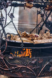 在金属,营火的藤古铜色装饰品 免版税库存图片