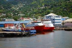 在金斯敦港口的乘客和货船 免版税图库摄影