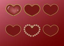 在金框架的红色心脏 免版税库存图片