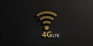 在金砖墙的WiFi 4G标志 截去容易的编辑文件例证的3d包括了路径翻译 库存照片