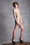 在金礼服的美好的女孩模型在充分的高度 库存照片