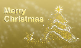 在金背景的圣诞树 库存照片