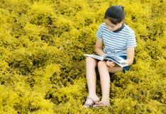 在金草甸contryside自然的女孩读书在平衡l 免版税库存图片