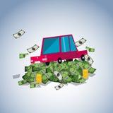 在金钱堆,债务概念的汽车- 库存例证