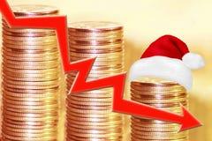 在金钱背景的红色百分号  价格变动的概念在真正的市场上的 库存照片