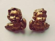 在金雕塑的Querubin夫妇 图库摄影