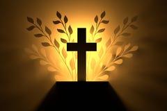 在金黄光的十字架 库存例证
