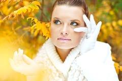在金黄叶子中的小姐佩带的白色毛线衣 免版税图库摄影