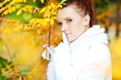 在金黄叶子中的小姐佩带的白色毛线衣 免版税库存图片