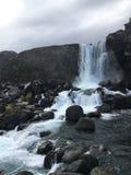 在金黄圈子旅游路线的Oxararfoss瀑布在Icela 图库摄影