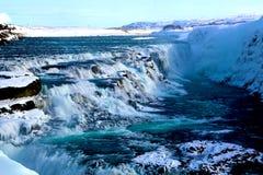 在金黄圈子的古佛斯瀑布瀑布在冰岛 免版税图库摄影
