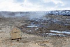 在金黄圈子的著名冰岛Geysir 免版税库存图片