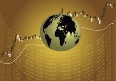 在金黄布朗的全球性股市 皇族释放例证
