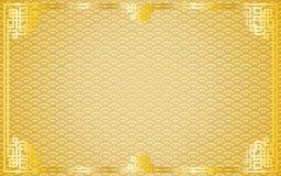 在金黄样式背景的东方葡萄酒金框架 库存例证