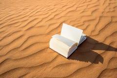 在金黄沙漠沙丘搁浅的开放笔记本在日落期间 免版税库存照片