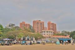 在金黄海滩的晴天在屯门 库存照片