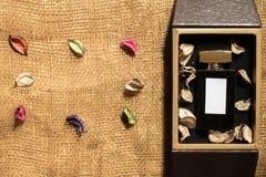 在金黄礼物盒里面的香水玻璃瓶 免版税库存照片
