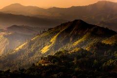 在金黄阳光期间的高山 图库摄影