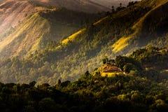 在金黄阳光期间的高山 免版税库存照片